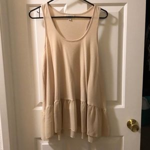 Cream color long tank with sheer ruffle size L